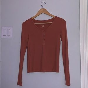 American Eagle button up coral long sleeve